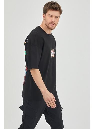 XHAN Lila Önür & Arkası Baskılı Oversize T-Shirt 1Kxe1-44629-26 Siyah